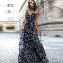 Load image into Gallery viewer, Beiby Bamboo Dresses Blue / S Women Dress Vintage Leopard print Sleeveless V-neck Dress