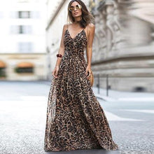 Load image into Gallery viewer, Beiby Bamboo Dresses Brown / S Women Dress Vintage Leopard print Sleeveless V-neck Dress