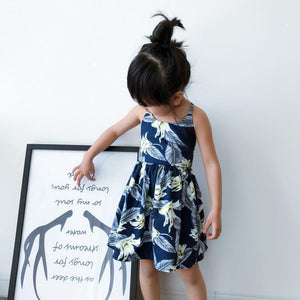 Beiby Bamboo Dresses Girl Dress 80cm Family Matching Blue Ivy Beach Outfits