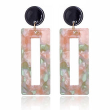 Load image into Gallery viewer, Beiby Bamboo Drop Earrings 1 Rectangle Tortoise Shell Resin Acrylic Earrings for Women