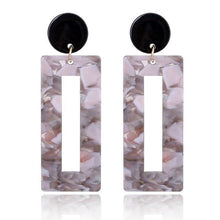 Load image into Gallery viewer, Beiby Bamboo Drop Earrings 2 Rectangle Tortoise Shell Resin Acrylic Earrings for Women