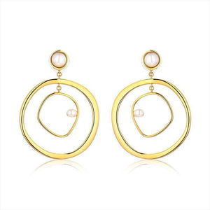 beiby bamboo Drop Earrings 2019 New Arrival Irregular Double Layered Gold Color Loop Pearl Drop Earrings For Women