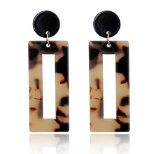 Load image into Gallery viewer, Beiby Bamboo Drop Earrings 3 Rectangle Tortoise Shell Resin Acrylic Earrings for Women