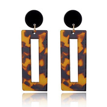 Load image into Gallery viewer, Beiby Bamboo Drop Earrings 4 Rectangle Tortoise Shell Resin Acrylic Earrings for Women