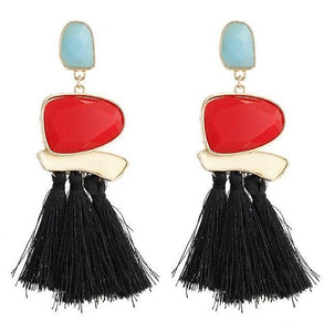 Beiby Bamboo Drop Earrings E0402 black Bohemian Long Statement Tassel Drop Earrings