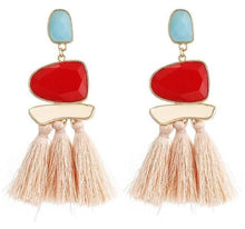 Load image into Gallery viewer, Beiby Bamboo Drop Earrings E0402 pink Bohemian Long Statement Tassel Drop Earrings