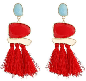 Beiby Bamboo Drop Earrings E0402 red Bohemian Long Statement Tassel Drop Earrings
