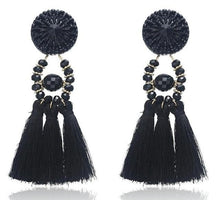 Load image into Gallery viewer, Beiby Bamboo Drop Earrings E0502 black Bohemian Long Statement Tassel Drop Earrings