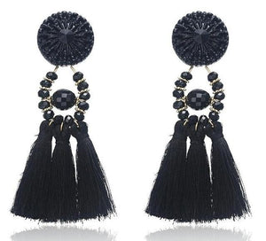 Beiby Bamboo Drop Earrings E0502 black Bohemian Long Statement Tassel Drop Earrings