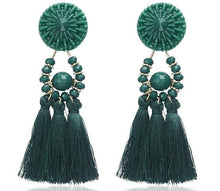 Load image into Gallery viewer, Beiby Bamboo Drop Earrings E0502 green Bohemian Long Statement Tassel Drop Earrings