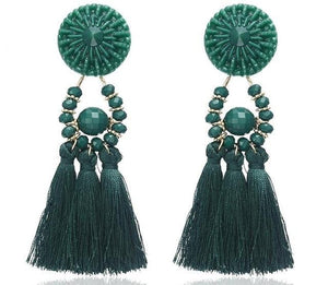 Beiby Bamboo Drop Earrings E0502 green Bohemian Long Statement Tassel Drop Earrings