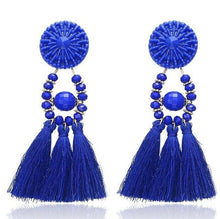 Load image into Gallery viewer, Beiby Bamboo Drop Earrings E0502 navy blue Bohemian Long Statement Tassel Drop Earrings