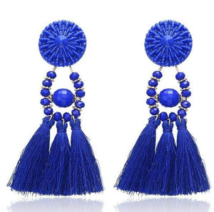 Beiby Bamboo Drop Earrings E0502 navy blue Bohemian Long Statement Tassel Drop Earrings