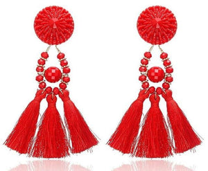 Beiby Bamboo Drop Earrings E0502 red Bohemian Long Statement Tassel Drop Earrings