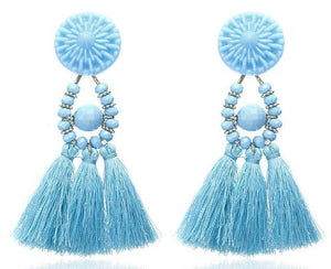Beiby Bamboo Drop Earrings E0502 sky blue Bohemian Long Statement Tassel Drop Earrings