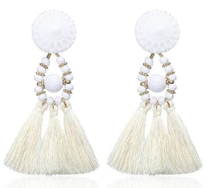 Beiby Bamboo Drop Earrings E0502 white Bohemian Long Statement Tassel Drop Earrings