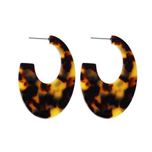 Load image into Gallery viewer, Beiby Bamboo Drop Earrings E988 brown Tortoise Shell Earrings