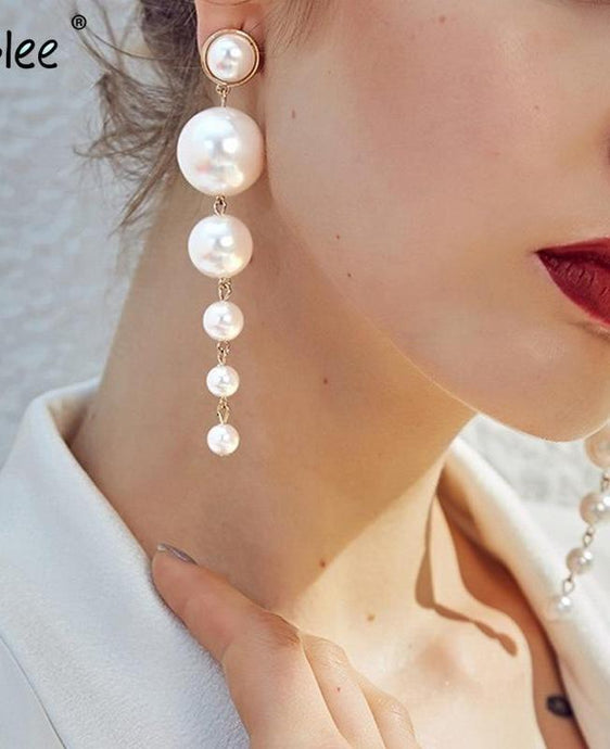 Beiby Bamboo Earring Pearl Drop Earrings