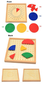 Beiby Bamboo Educational Toys Montessori Wooden Mathematics Fraction Circular Board