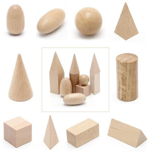 Beiby Bamboo educational toys Wooden Geometric Solids 3-D Shapes