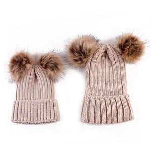 Beiby Bamboo Hats & Caps beige Family Matching Fur Pompom Ball Hat