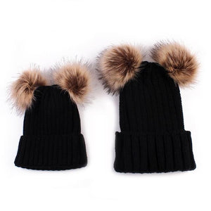 Beiby Bamboo Hats & Caps black Family Matching Fur Pompom Ball Hat