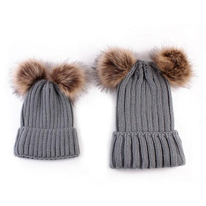 Beiby Bamboo Hats & Caps gray Family Matching Fur Pompom Ball Hat