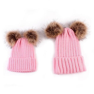 Beiby Bamboo Hats & Caps pink Family Matching Fur Pompom Ball Hat