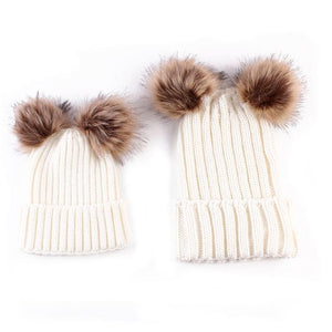 Beiby Bamboo Hats & Caps white Family Matching Fur Pompom Ball Hat