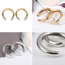 Load image into Gallery viewer, Beiby Bamboo Hoop Earrings Golden Crescent Hoop Earring
