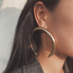 Beiby Bamboo Hoop Earrings Golden Crescent Hoop Earring