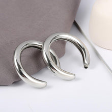 Load image into Gallery viewer, Beiby Bamboo Hoop Earrings Silver Crescent Hoop Earring