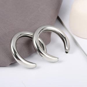 Beiby Bamboo Hoop Earrings Silver Crescent Hoop Earring