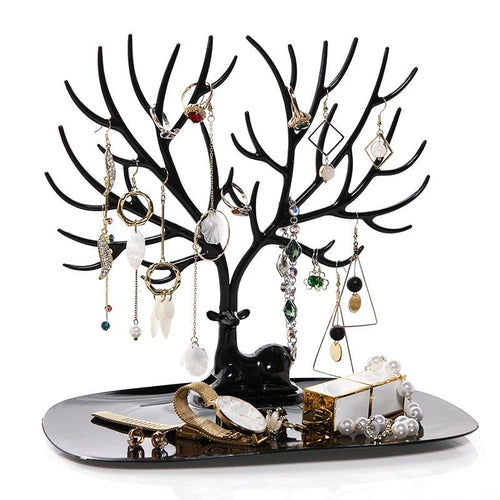 Beiby Bamboo Jewelry Packaging & Display black Little Deer Earrings Necklace Ring Pendant Bracelet Jewelry Display Stand