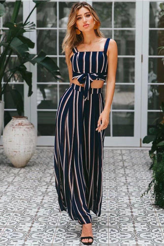 Beiby Bamboo Jumpsuits Striped / S Striped Sleeveless Wide Leg Jumpsuit Two Pieces