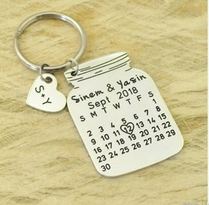 Beiby Bamboo Key Chains silver color Personalized 2 Initials Calendar Keychain