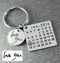 Beiby Bamboo keychain Alloy silver color Personalized Calendar Keychain