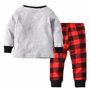 Beiby Bamboo kids Pajamas Set Gray / 12M Christmas Deer Plaid 2 Pieces Pajamas Set