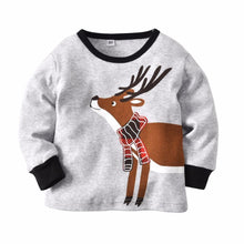 Load image into Gallery viewer, Beiby Bamboo kids Pajamas Set Gray / 12M Christmas Deer Plaid 2 Pieces Pajamas Set
