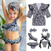 Load image into Gallery viewer, Beiby Bamboo kids swim suit XXS Baby Girls two-piece Leopard Off-shoulder Swimsuit, Color - Ball Tassels Swimsui