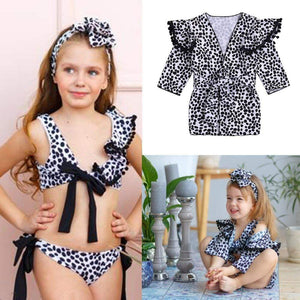 Beiby Bamboo kids swim suit XXS Baby Girls two-piece Leopard Off-shoulder Swimsuit, Color - Bandage Swimsuit Set