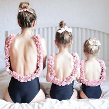 Load image into Gallery viewer, Beiby Bamboo Matching Bathing Suits Mother S Mother Daughter Matching Flower Swimsuits, Color - Black