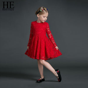Beiby Bamboo Matching Family Outfits 3T Mother Daughter long sleeves Red Lace Dress