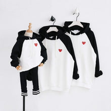 "Load image into Gallery viewer, Beiby Bamboo Matching Family Outfits Black / 18M ""Little Red Heart"" Family Matching Hoodies"