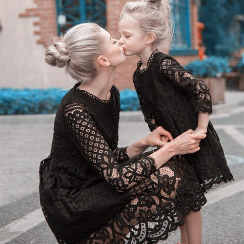 Beiby Bamboo Matching Family Outfits Black / mom M in 50kg Mother Daughter Matching Lace Dresses