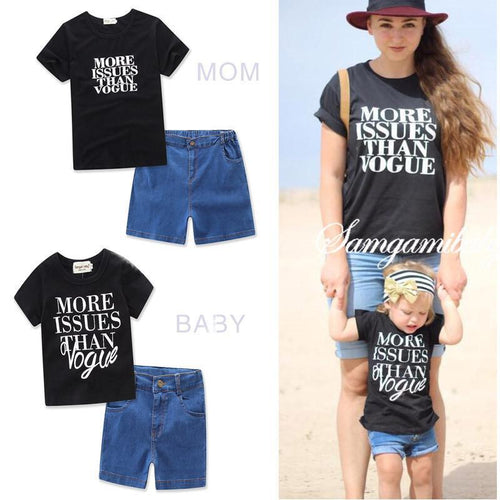 Beiby Bamboo Matching Family Outfits Blue / mom S 2pcs Mother and Baby Family Matching Outfits Set