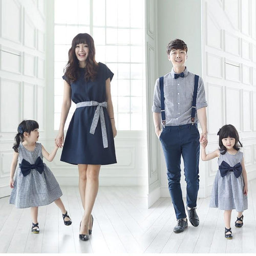 Beiby Bamboo Matching Family Outfits Blue / mom S Mother Daugher Dresses and Father Son Denim Overalls Matching Outfit