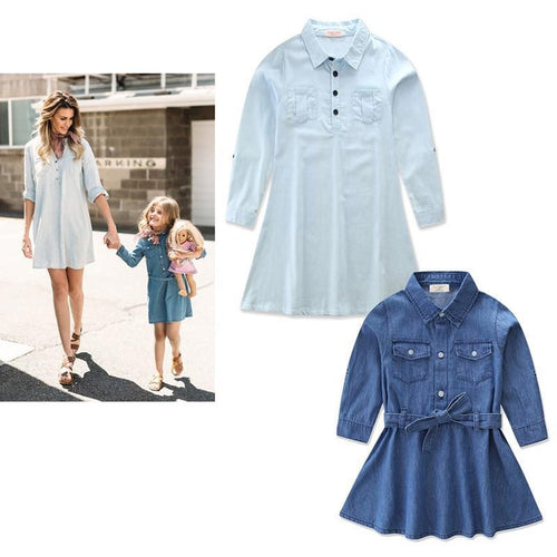 Beiby Bamboo Matching Family Outfits blue / Mother S Mother And Daughter Matching Denim Dress