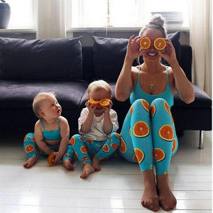 Beiby Bamboo Matching Family Outfits Boys 5T Mother Daughter Son Matching 2pcs/set Tops+Lemon Yoga Pants