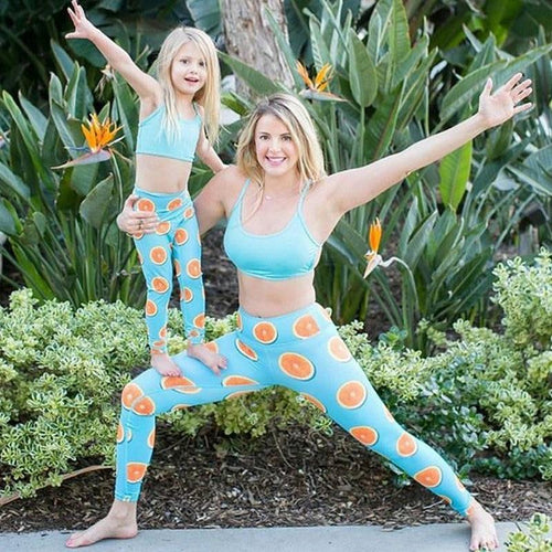 Beiby Bamboo Matching Family Outfits Mother M Mother Daughter Son Matching 2pcs/set Tops+Lemon Yoga Pants
